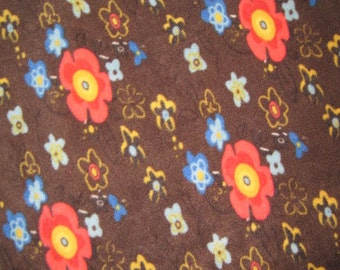 Little Orange and Blue Flowers on Brown with Blue Couch Cover-Up - Ready to Ship Now