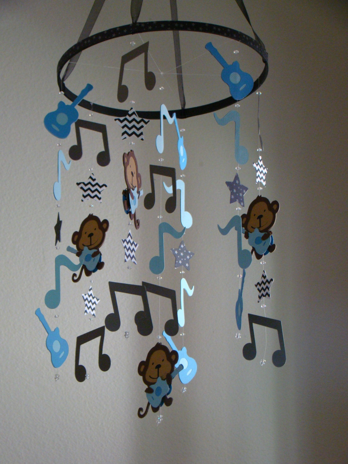 rock star monkey guitar music note baby mobile blue gray and. Black Bedroom Furniture Sets. Home Design Ideas