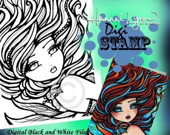 PRINTABLE Digi Stamp Fire and Ice Mermaid Coloring Page Fun Fantasy Art Hannah Lynn