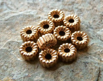 14k Gold Filled Corrugated Rondelle Beads - 4mm Spacers - Qty 10 pcs