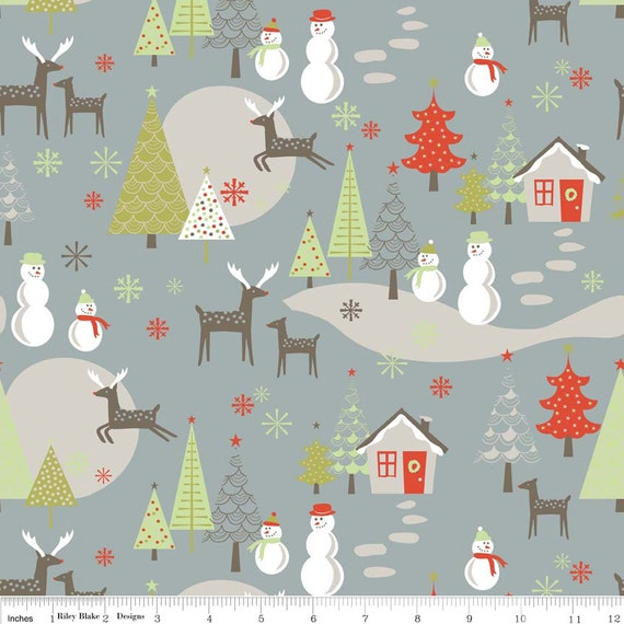Grey Red and Green Christmas Village Flannel, A Merry Little Christmas By Zoe Pearn For Riley Blake, Merry Main Print in Grey, 1 yard