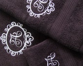 Personalized Bath Towel Set Monogram Machine Embroidery