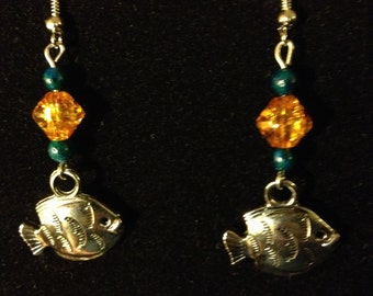 Blue and Amber Fish Earrings