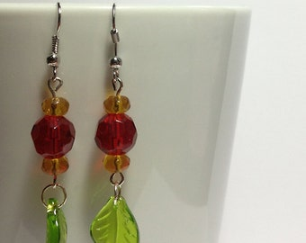 Red and Yellow Flower and Leaf Earrings