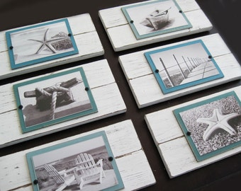 Set of 6 White and Turquoise Plank Frames for 5x7 Pictures