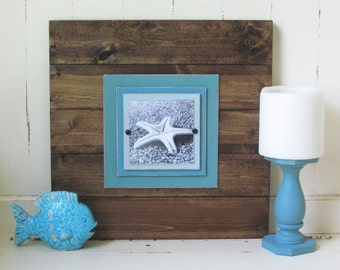 Plank Frame 17x17 for 5x5 Picture Dark Wood and Turquoise Mats