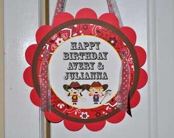 Cowgirl Birthday Party Door Sign - Cowgirl Birthday Decorations - Western Birthday Party