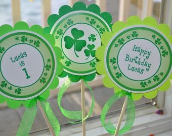 St. Patrick's Day Centerpiece Sticks, 1st Birthday Decorations, St. Patricks Day Decorations, Shamrocks, Clovers, Green - Set of 3 Sticks