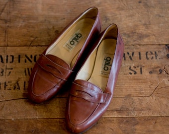 Vintage Brown Leather Penny Loafters Women's 5-5.5