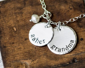 Mothers Day Gift - Grandma Necklace with Grandchild Initial - Hand Stamped Jewelry Sterling Silver