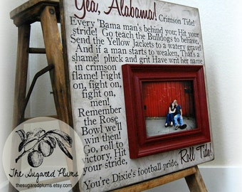 University of Alabama College, BAMA Roll Tide, Crimson Tide, College Football Fight Song, Wall Art, 16x16 Personalized Picture Frame
