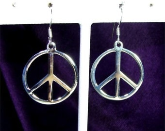 Large PEACE Sign EARRINGS mademof STERLING Silver