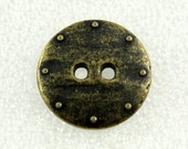 Wholesale - 50 Pieces Heavy Iron Wall Style Copper Metal Buttons.2 Holes. 0.83 inch.
