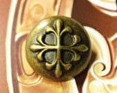 Metal Buttons - Baroque Cross Metal Buttons , Antique Brass Color , Shank , 0.79 inch , 10 pcs