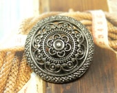 Metal Buttons - Lacework Filigree Metal Buttons , Nickel Silver Color , Shank , 1.18 inch , 6 pcs