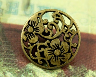 Metal Buttons - Flower Vine Metal Buttons , Antiqued Brass Color , Openwork , Shank , 0.59 inch , 10 pcs