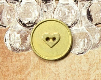 Metal Buttons - Heart Engraving Metal Buttons , Pale Gold Color , 2 Holes , 0.79 inch , 10 pcs
