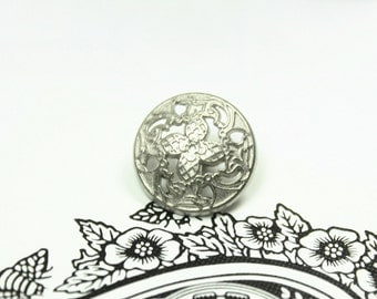 Metal Buttons - Windmill Flower Metal Buttons , Silver Color , Openwork , Shank , 0.59 inch , 10 pcs