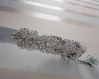 Silver Sash - Bridal Lace Belt, rhinestone sash, couture bridal sash, beaded bridal belt