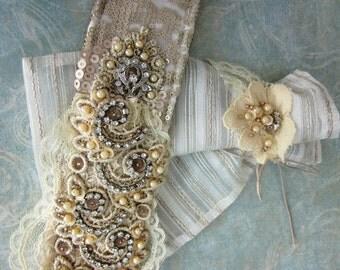 Cream Rhinestones Lace Belt