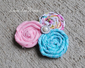 READY TO SHIP, Clearance Sale, Pastel Triple Cluster Rolled Flowers Hair Clip