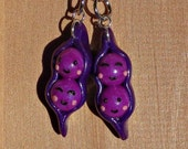Two Peas in a Pod Best Friend Keychains- Purple Lovers Set/BFF Keychain/Polymer Clay/Handmade/Besties Charms