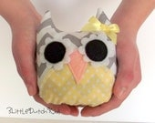 Olive (Gray and White Chevron and Yellow Polka Dot Owl Pillow) owl party favor, owl pillow