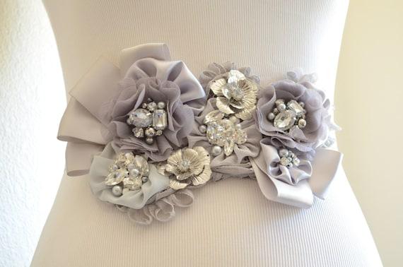 READY TO SHIP,Sale,One of a Kind,Grey Silver Sash,Flower Sash,Rhinestone Pearl Sash,Grey and Silver flower sash,Bridal sash,vintage sash