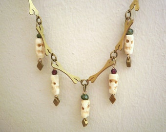 Golden Brass Necklace  with Bones and Tribal  Skulls