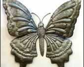 "Butterfly Metal Wall Decor, Haitian Recycled Steel Drum Art, Metal Wall Art -  Handcrafted Metal Art -Metal Butterflies - 21"" x 24"".- 577-24"