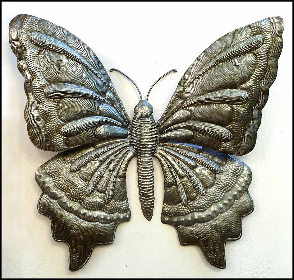 butterfly metal wall decor haitian recycled steel drum art. Black Bedroom Furniture Sets. Home Design Ideas