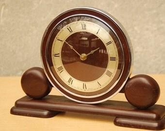 Metamec Electric Dark Wood Deco Style Mantel Clock