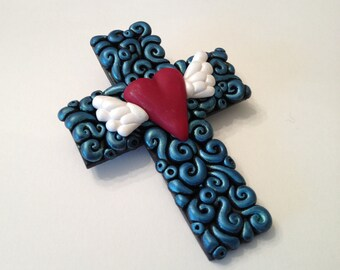 Polymer Clay Swirl Cross Pendant With Heart