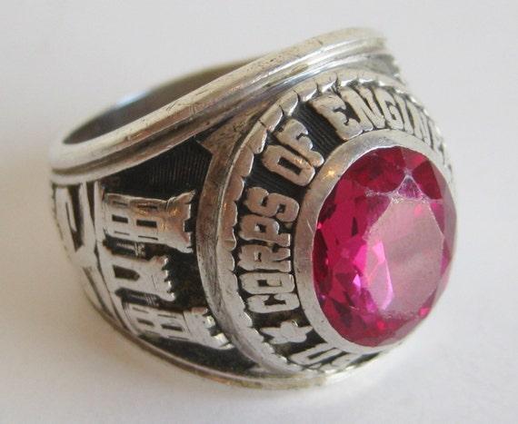 Vintage Mens Ring U S Army Corps Of Engineers Jeweled