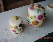 """2 RARE 1950's ALLOVER COOKIES Jars Walnut Finial Knob Lid Napco 1k3541 LAPottery 9-1/2"""" Norcest 7""""  Cookie Jars Free Shipping"""