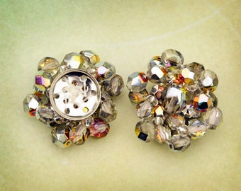28mm Handmade Crystal AB Beaded Components for Assemblage Jewelry, (A2-R4-C5), Quantity 2