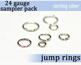 210 pcs 24g sterling sampler pack assorted jump rings 24gsamp 925 solid sterling