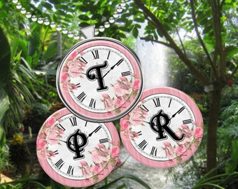 INSTANT DOWNLOAD-Pendant 1 inch circle Pink Rose with Vintage Clock Bottlecap Images