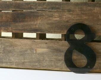 Vintage Plastic Number 8, #8, House Number, Retro Number, Sign Number