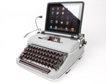 USB Typewriter Computer Keyboard -- Light Gray Olympia SM -- 1960s Mad Men Style