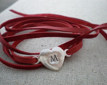initial leather wrap bracelet - custom braclet - hand stamped sterling silver and genuine leather