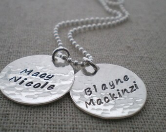 two names necklace, mothers necklace, stamped names discs, 2 kids necklace for mom, grandmothers necklace, stamped names pendants