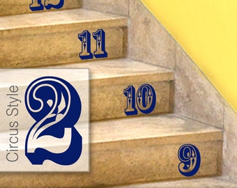 Stairs Stickers, Circus Style Number Stickers - Stairs or Wall Decals, Numbers Home Decor, Baby Nursery, Shown in Navy (0172a74v-r2c3)