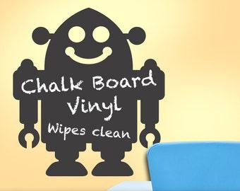 Robot Chalkboard Vinyl Wall Decal | Playroom Decor Retro Robot Decal | Kids Bedroom Decor | Blackboard, Chalk board, Science Fiction, Fanboy