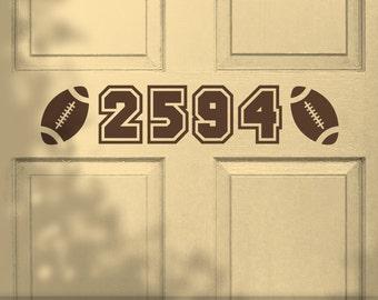 Football Door Number Decal - Vinyl House Number, Custom Door Sign Sports Decor,Varsity Style Numbers, Unique House Numbering