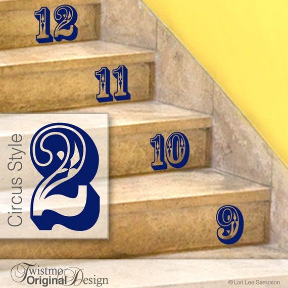 Stairs Stickers, Circus Style Number Stickers - Stairs or Wall Decals, Numbers Home Decor, Baby Nursery, Shown in Navy (0172a74v-r1c3)