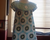 Teal with Daisies Peasant Dress, Size 18 Months-2, 3-4, 5-6, 7-8, and 9-10