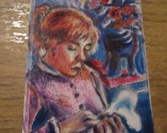 Women Sewing, Mini masterpiece art card (not a print)