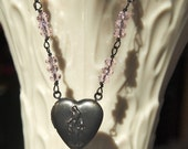 Black Brass Virgin Mary Heart-Shaped Locket with Pink Glass Rondelles