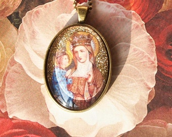 St. Anne and St. Mary glass pendant in bronze colored setting